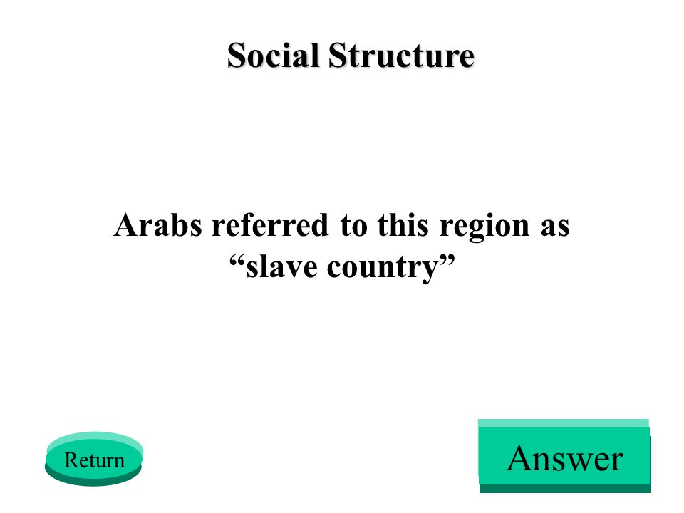 Social Structure Arabs referred to this region as slave country Return Answer