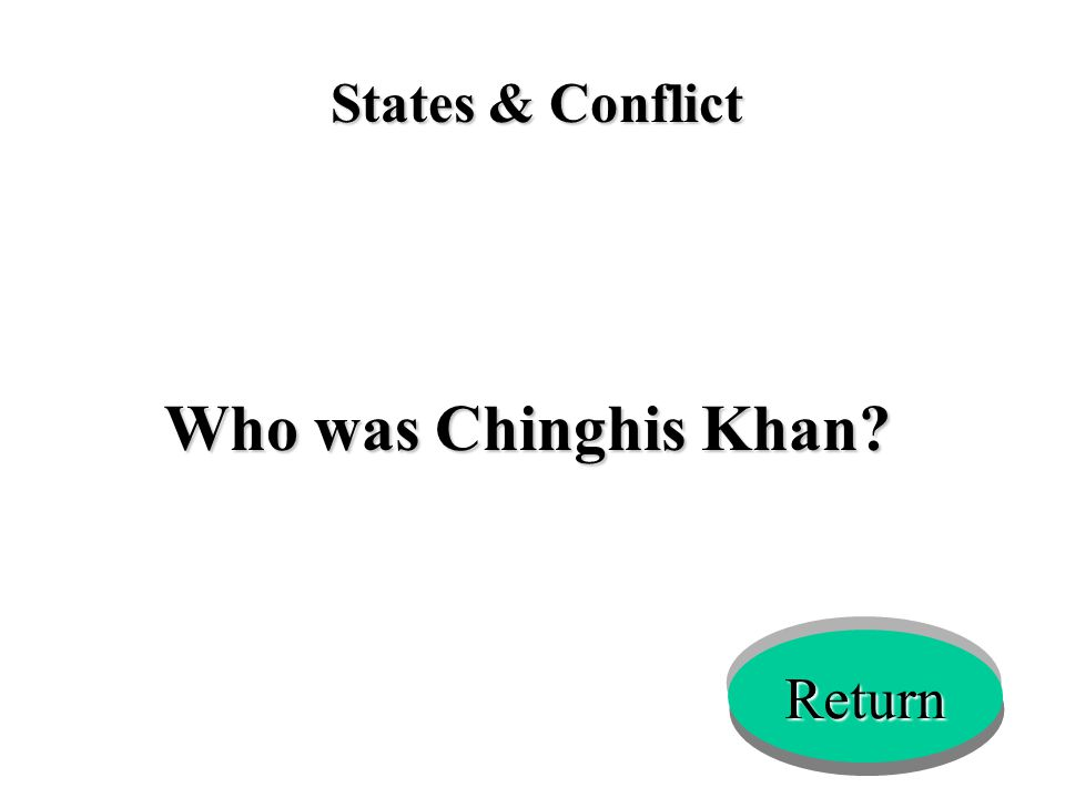 States & Conflict Who was Chinghis Khan? Return