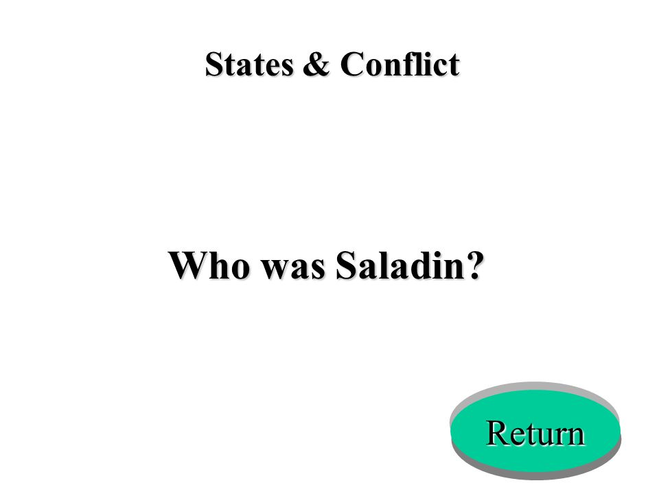 States & Conflict Who was Saladin? Return