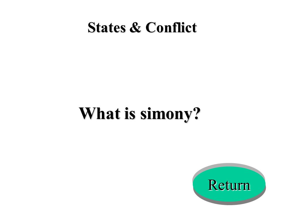 States & Conflict What is simony? Return