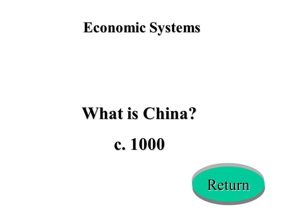Economic Systems What is China? c. 1000 Return