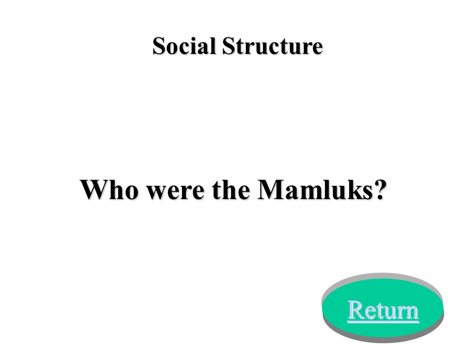 Social Structure Who were the Mamluks? Return
