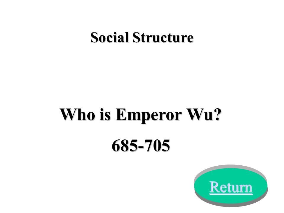 Who is Emperor Wu? 685-705 Return Social Structure