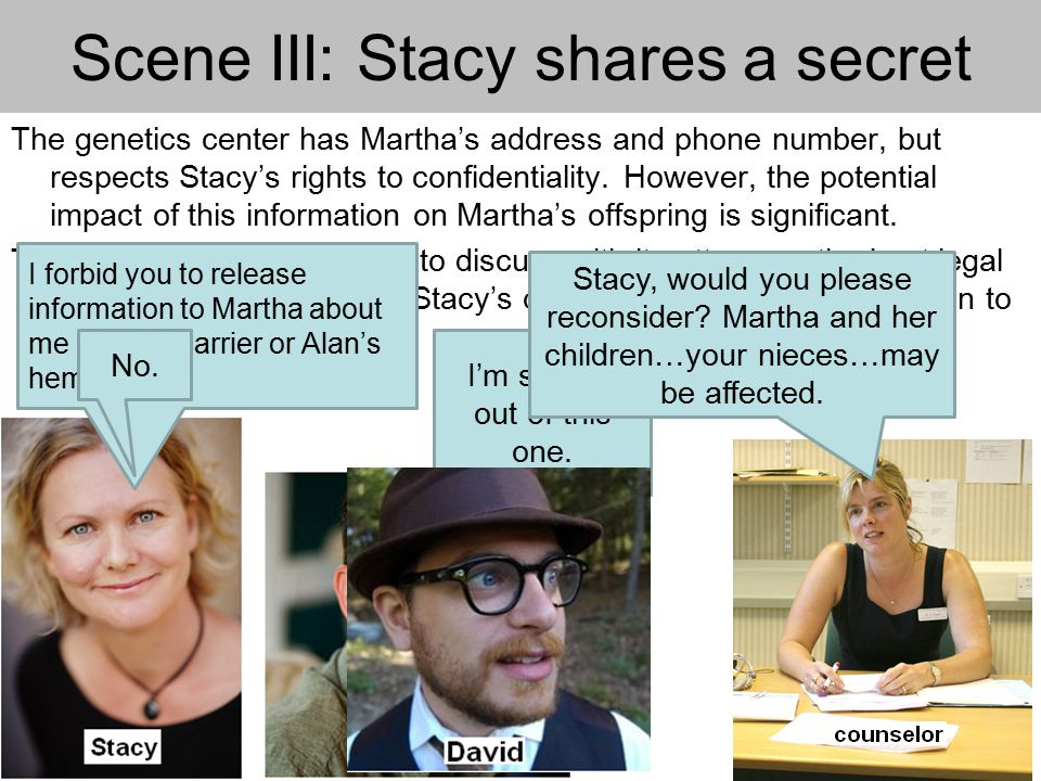 Scene III: Stacy shares a secret The genetics center has Martha's address and phone number, but respects Stacy's rights to confidentiality.