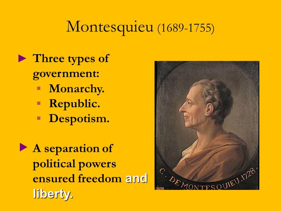 Montesquieu (1689-1755) ► Three types of government:  Monarchy.