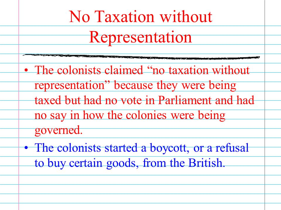 """No Taxation without Representation The colonists claimed """"no taxation without representation"""" because they were being taxed but had no vote in Parliam"""