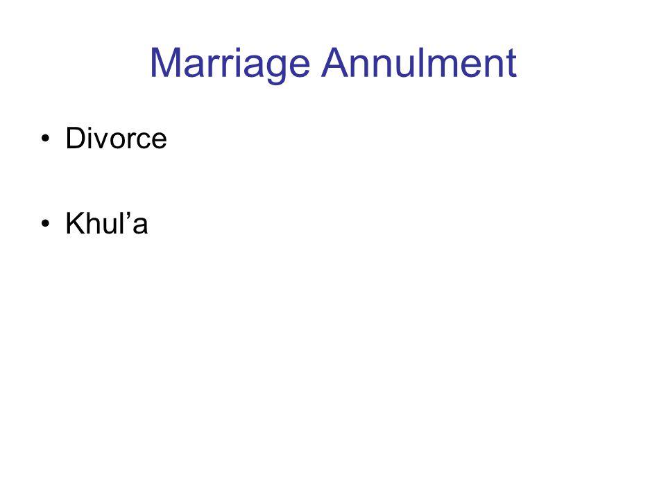 Marriage Annulment Divorce Khul'a
