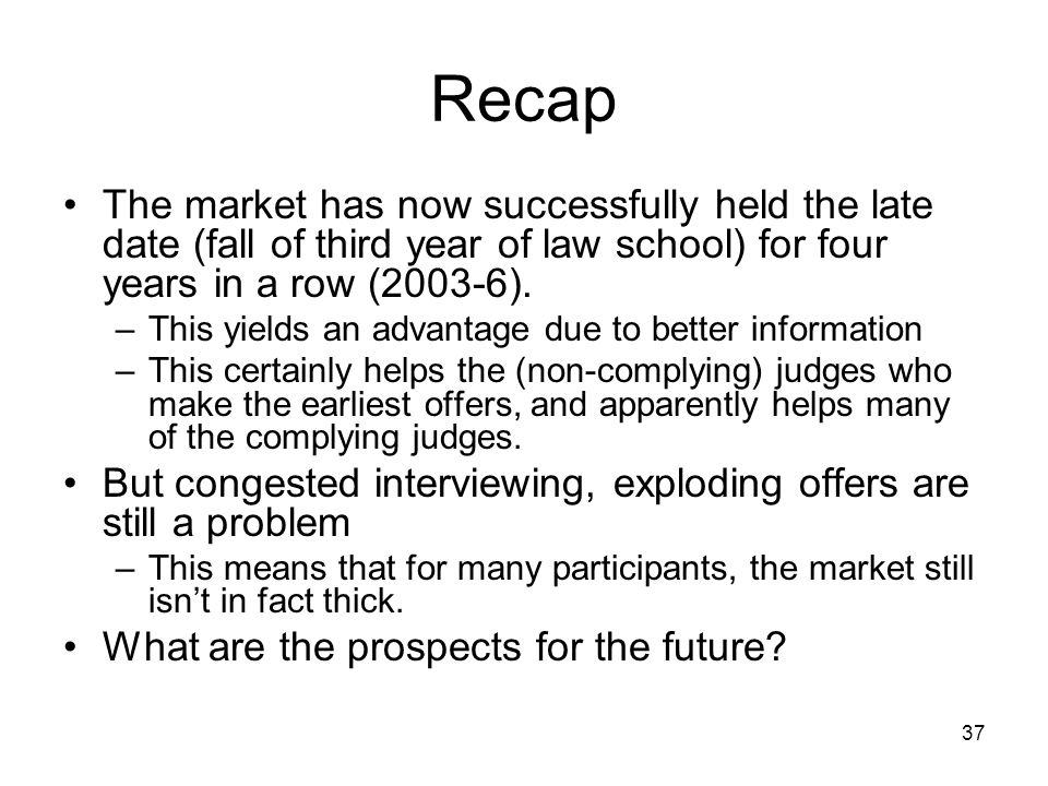 37 Recap The market has now successfully held the late date (fall of third year of law school) for four years in a row (2003-6). –This yields an advan
