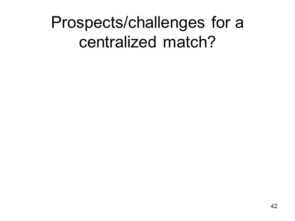 42 Prospects/challenges for a centralized match