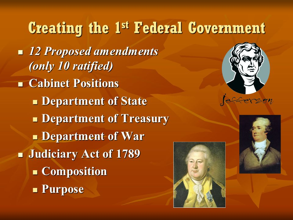 Creating the 1 st Federal Government 12 Proposed amendments (only 10 ratified) 12 Proposed amendments (only 10 ratified) Cabinet Positions Cabinet Pos