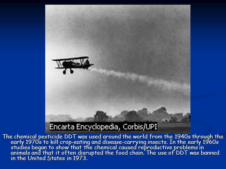 The chemical pesticide DDT was used around the world from the 1940s through the early 1970s to kill crop-eating and disease-carrying insects. In the e