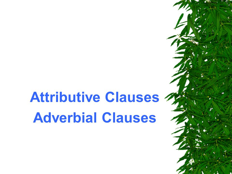Attributive Clauses Adverbial Clauses