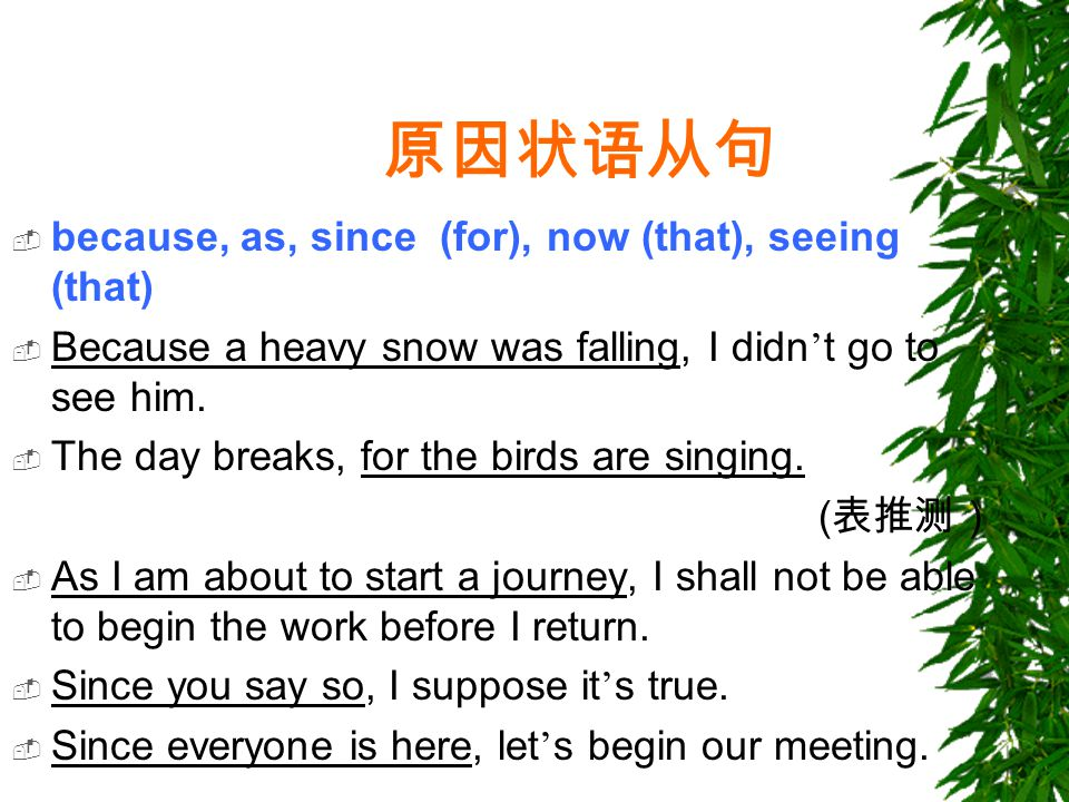 原因状语从句  because, as, since (for), now (that), seeing (that)  Because a heavy snow was falling, I didn ' t go to see him.