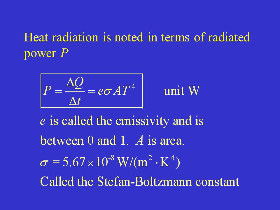 Heat radiation is noted in terms of radiated power P