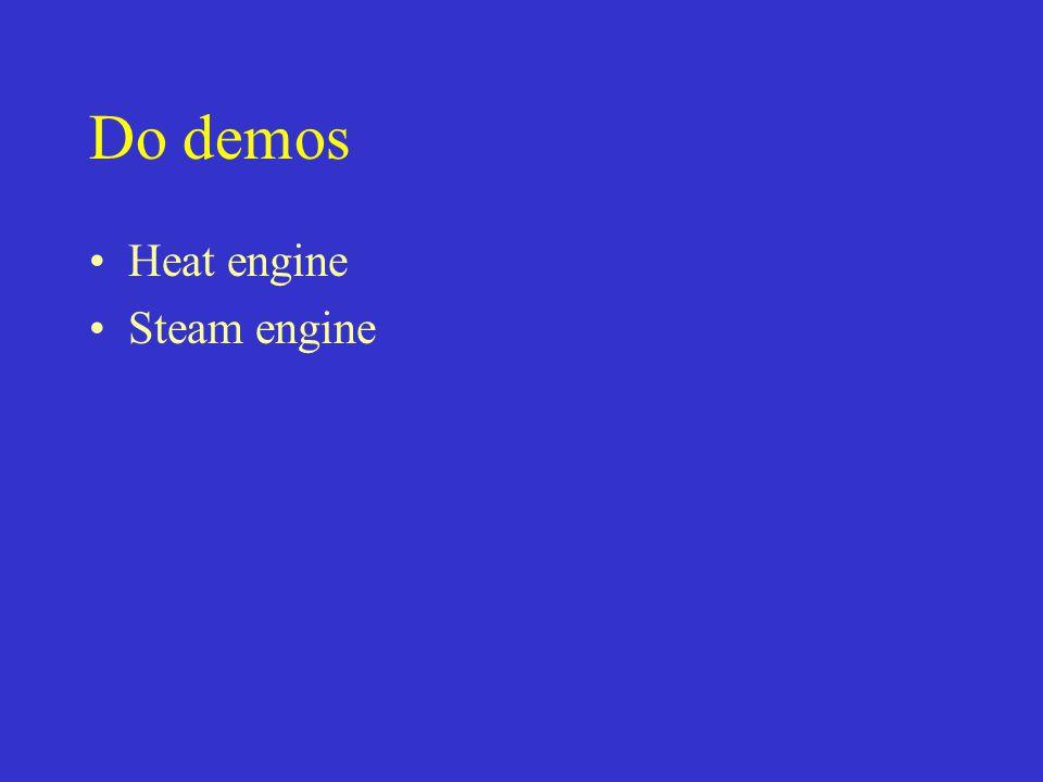 Do demos Heat engine Steam engine