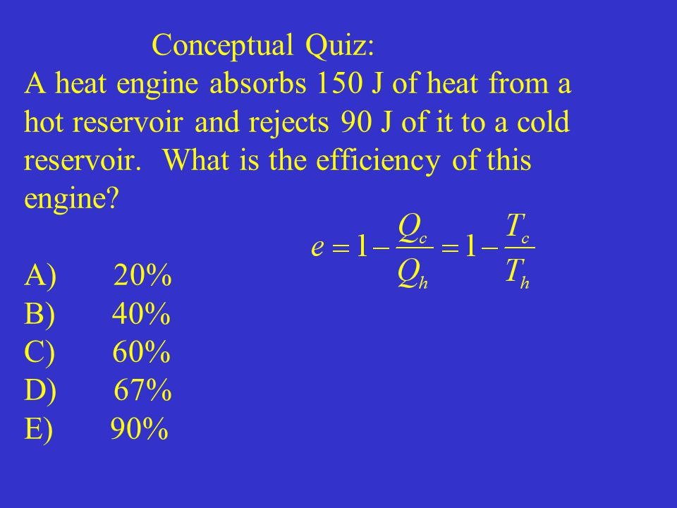 Conceptual Quiz: A heat engine absorbs 150 J of heat from a hot reservoir and rejects 90 J of it to a cold reservoir.