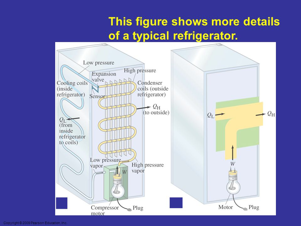 Copyright © 2009 Pearson Education, Inc. This figure shows more details of a typical refrigerator.