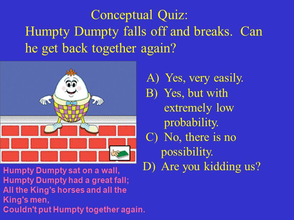 Conceptual Quiz: Humpty Dumpty falls off and breaks.