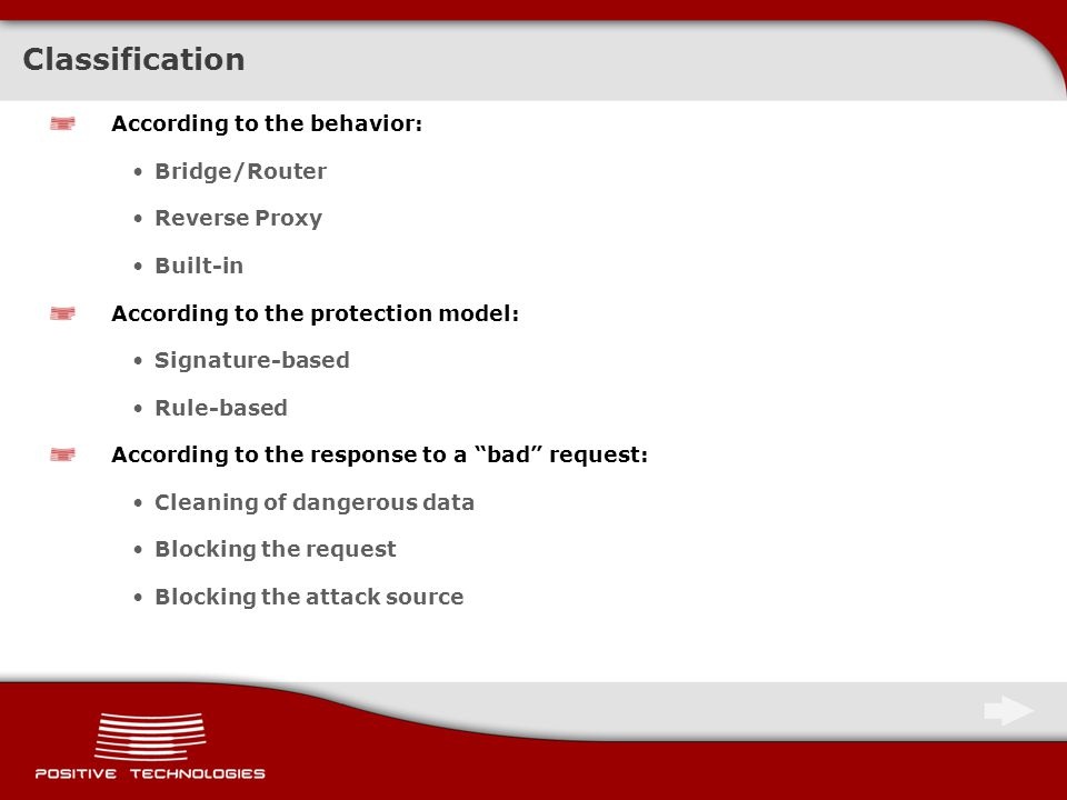 Conclusions: Chapter I - SQL Injection An SQL Injection attack can successfully bypass the WAF and be conducted in all following cases: Vulnerabilities in the functions of WAF request normalization Application of HPP and HPF techniques Bypassing filter rules (signatures) Vulnerability exploitation by the method of blind SQL Injection Attacking the application operating logics (and/or)