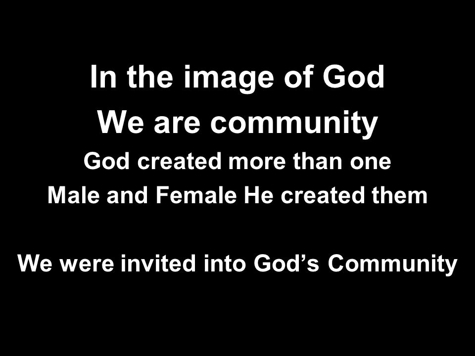 In the image of God We are community God created more than one Male and Female He created them We were invited into God's Community