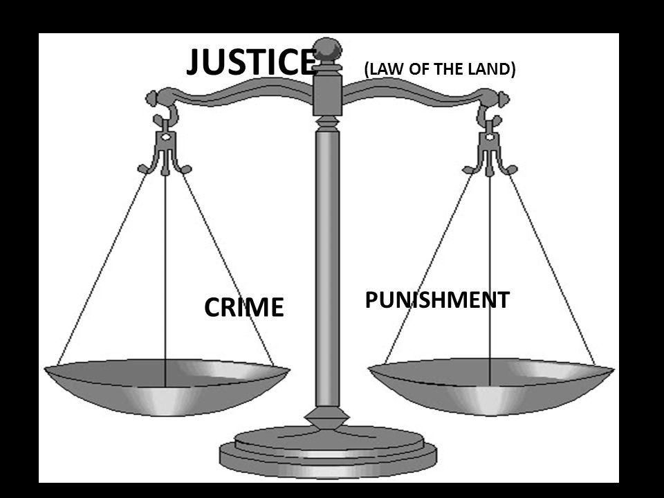 CRIME PUNISHMENT JUSTICE (LAW OF THE LAND)