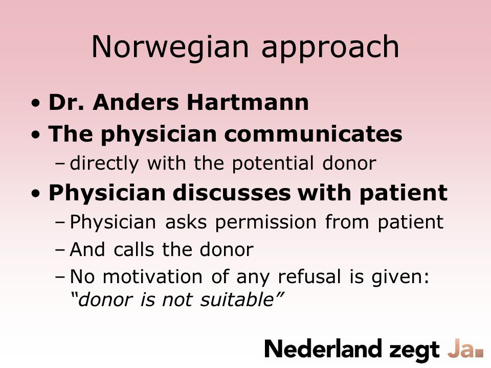 Norwegian approach Dr. Anders Hartmann The physician communicates –directly with the potential donor Physician discusses with patient –Physician asks