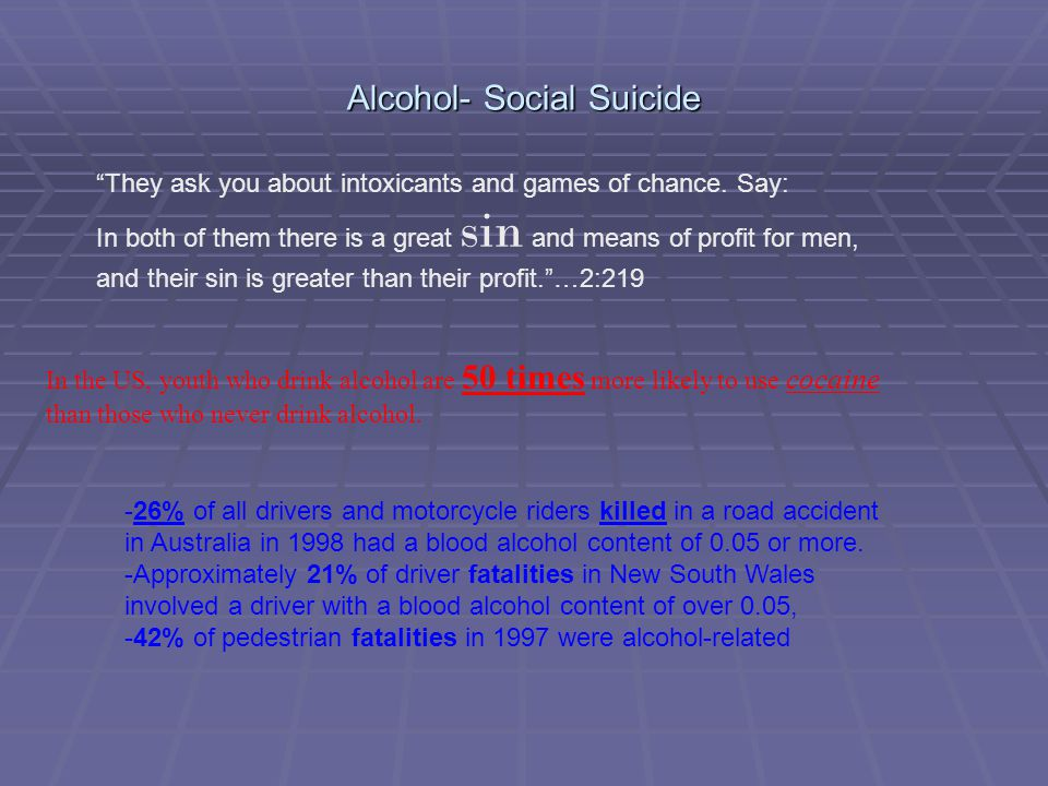 Alcohol- Social Suicide They ask you about intoxicants and games of chance.