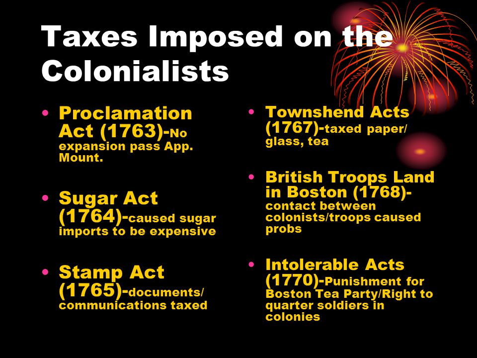 Taxes Imposed on the Colonialists Proclamation Act (1763)- No expansion pass App.