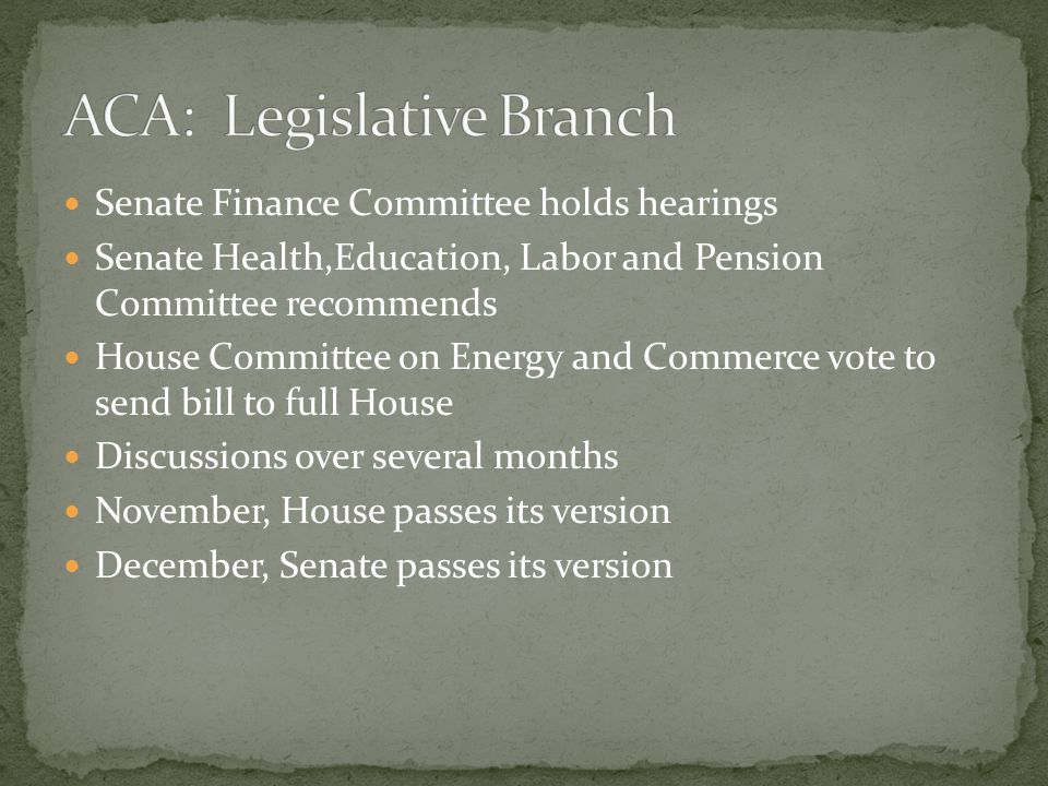 Senate Finance Committee holds hearings Senate Health,Education, Labor and Pension Committee recommends House Committee on Energy and Commerce vote to send bill to full House Discussions over several months November, House passes its version December, Senate passes its version
