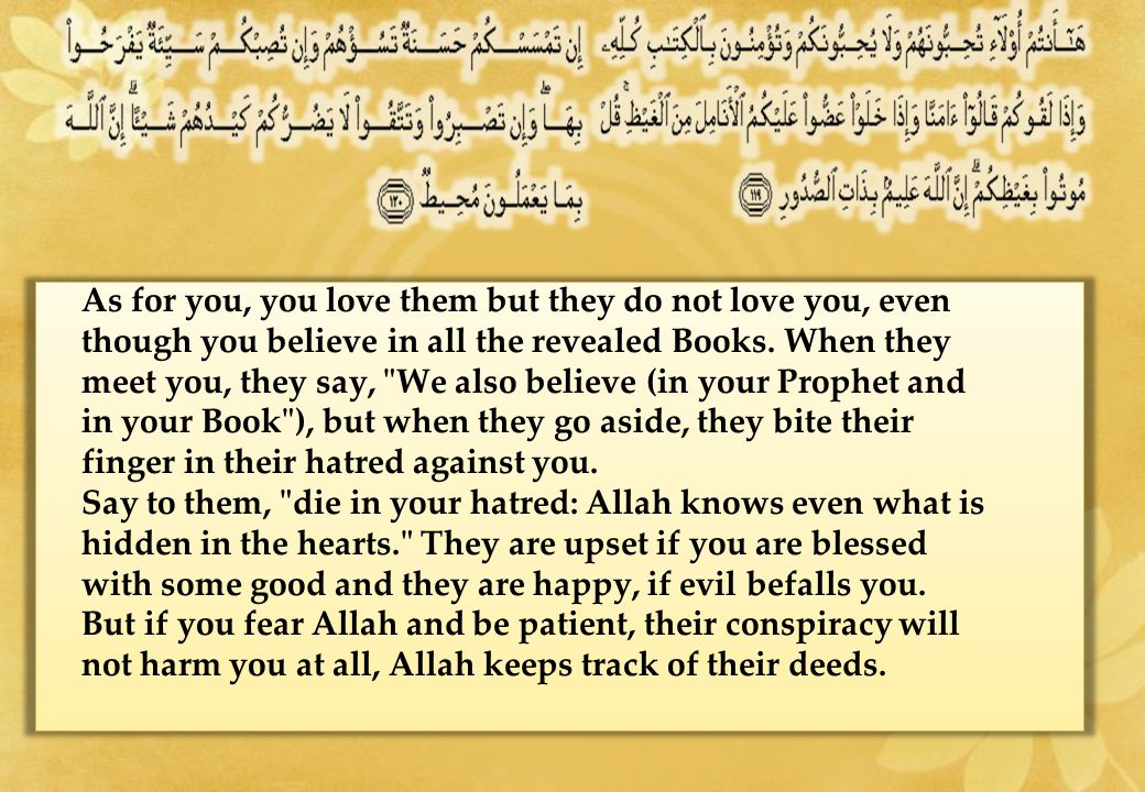 As for you, you love them but they do not love you, even though you believe in all the revealed Books. When they meet you, they say,
