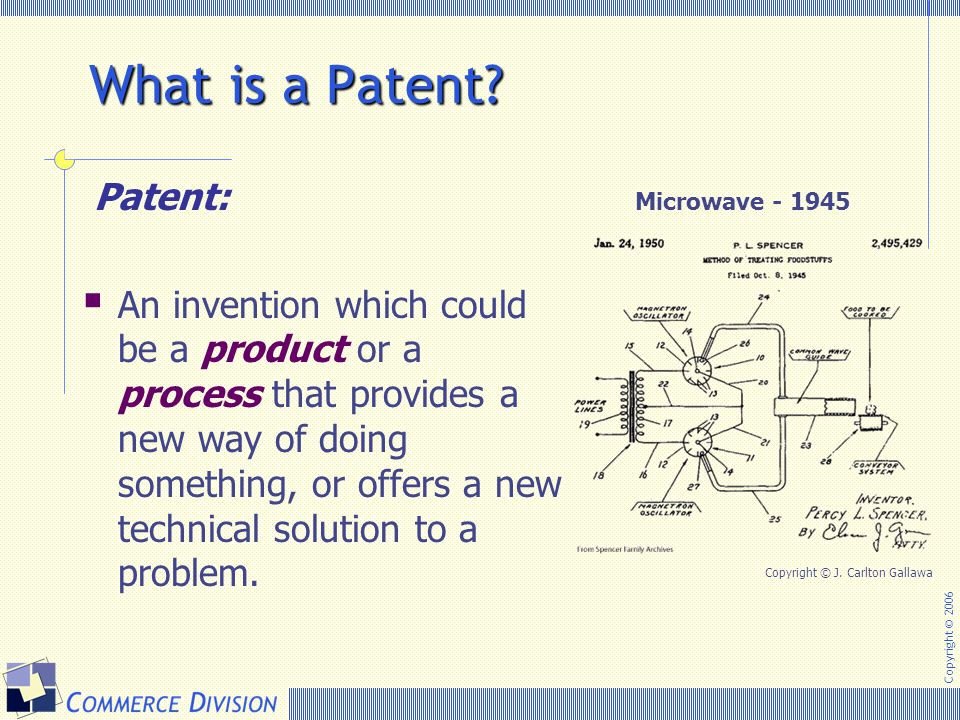 Copyright © 2006 What is a Patent? Patent:  An invention which could be a product or a process that provides a new way of doing something, or offers
