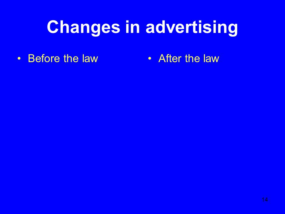 14 Changes in advertising Before the lawAfter the law