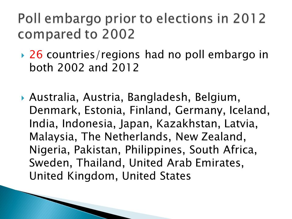  26 countries/regions had no poll embargo in both 2002 and 2012  Australia, Austria, Bangladesh, Belgium, Denmark, Estonia, Finland, Germany, Iceland, India, Indonesia, Japan, Kazakhstan, Latvia, Malaysia, The Netherlands, New Zealand, Nigeria, Pakistan, Philippines, South Africa, Sweden, Thailand, United Arab Emirates, United Kingdom, United States