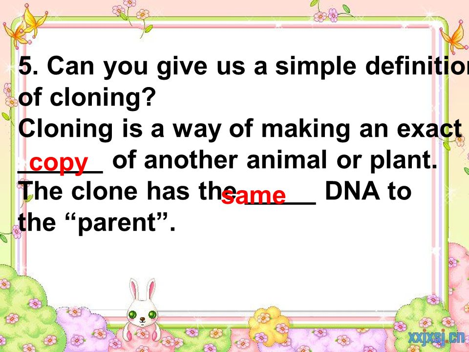 5. Can you give us a simple definition of cloning.