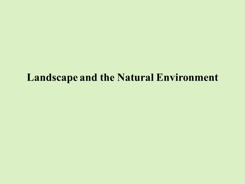 Landscape and the Natural Environment