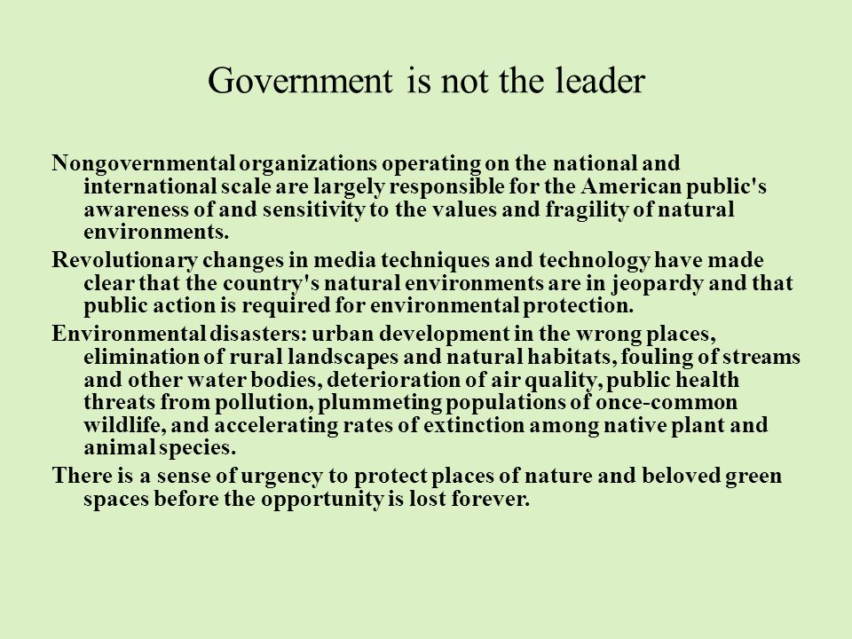 Government is not the leader Nongovernmental organizations operating on the national and international scale are largely responsible for the American public s awareness of and sensitivity to the values and fragility of natural environments.