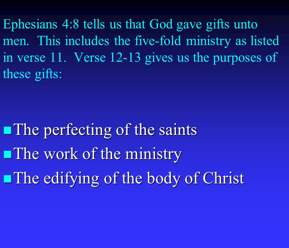 Ephesians 4:8 tells us that God gave gifts unto men.