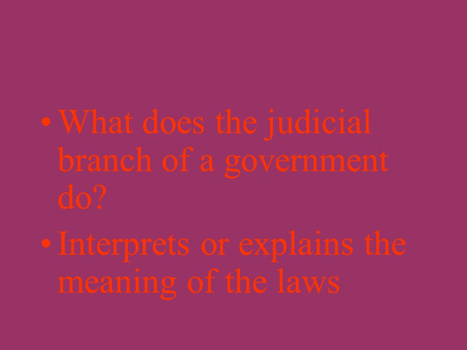 What does the legislative branch of a government do? Makes the laws