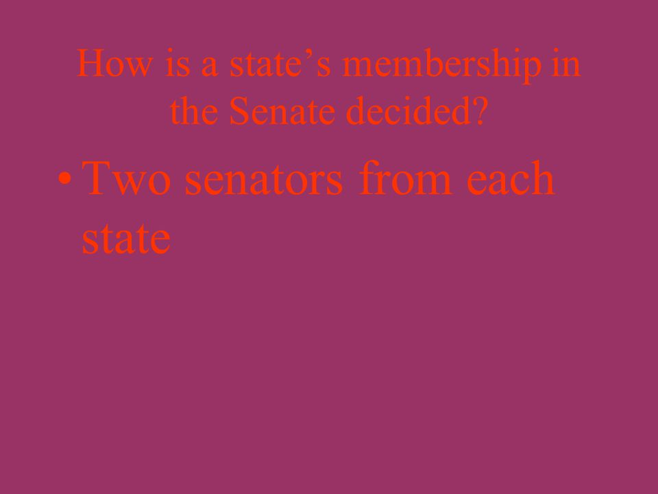 What are the two houses of Congress? The House of Representatives The United States Senate