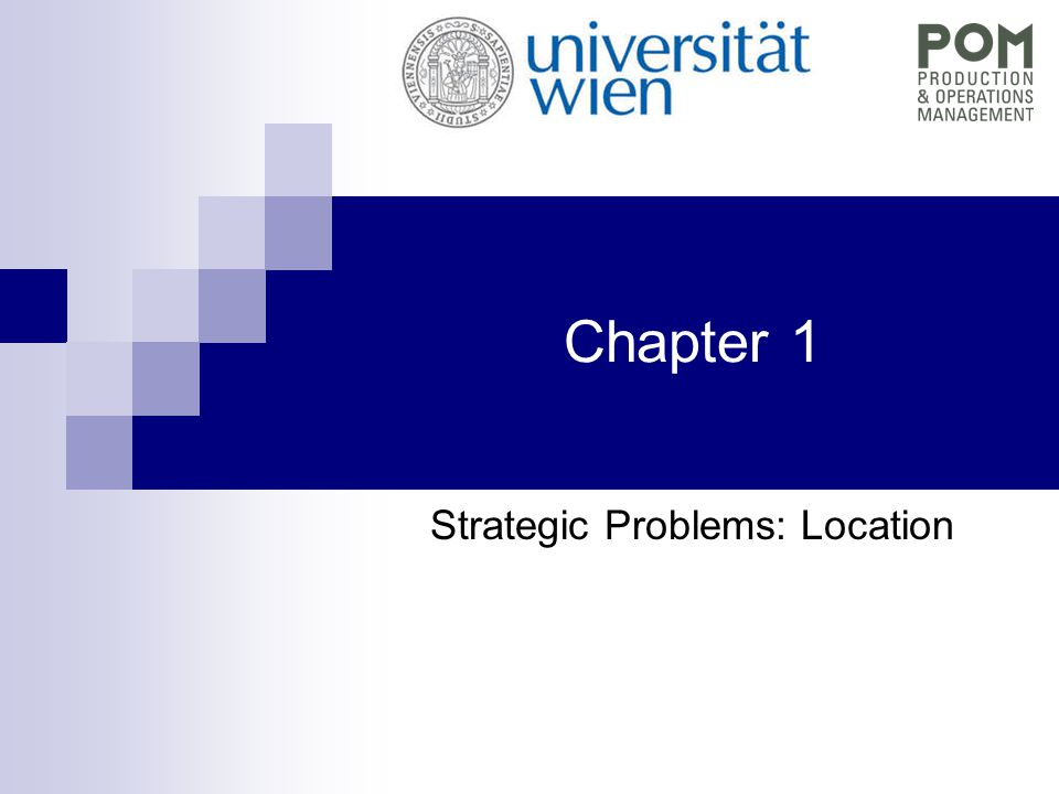 """QEM - Chapter 1 Formulation as LP (MIP)  y i … Binary variable for i = 1, …, m: y i = 1 if location i is chosen for warehouse 0 otherwise when locations are decided:  transportation cost easy (closest location)  Problem: 2 m -1 possibilities (exp…)  x ij … real """"assignment oder transportation variable für i = 1, …,m and j = 1, …, n: x ij = fraction of demand of customer j devivered from location i."""