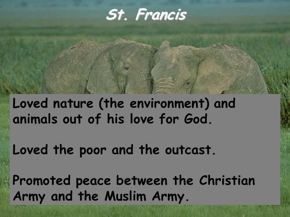 St. Francis Loved nature (the environment) and animals out of his love for God. Loved the poor and the outcast. Promoted peace between the Christian A