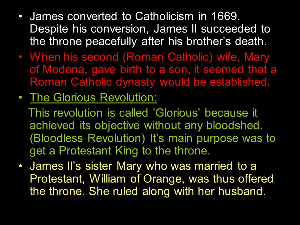 James converted to Catholicism in 1669.