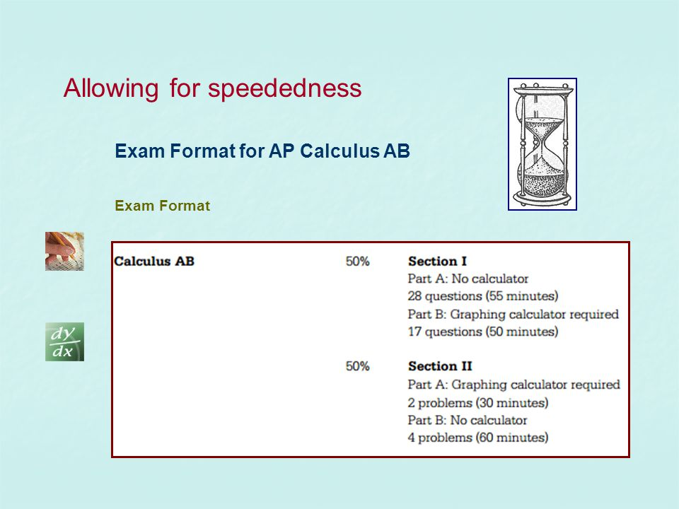 Exam Format for AP Calculus AB Exam Format Allowing for speededness