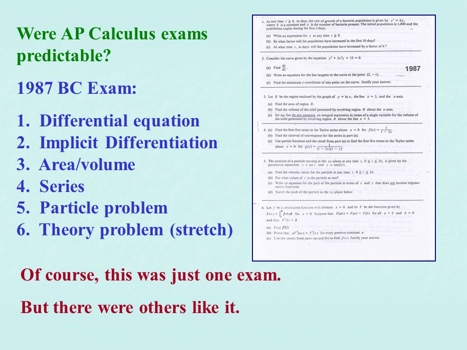 Were AP Calculus exams predictable.1987 BC Exam: 1.