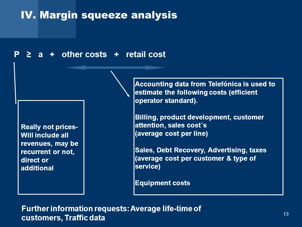 13 IV. Margin squeeze analysis P ≥ a + other costs + retail cost Really not prices- Will include all revenues, may be recurrent or not, direct or addi