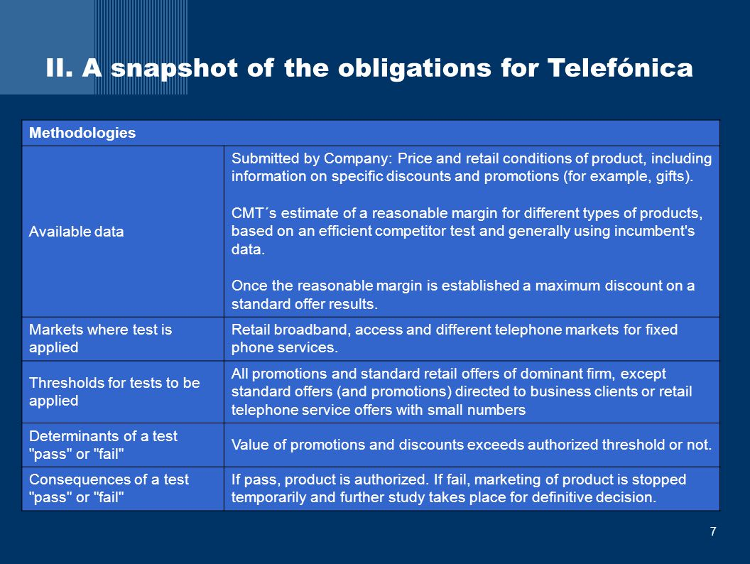 8 A snap shot of the obligations in Spain  During 2007, 372 offers and promotions were communicated to CMT  6 of those were stopped  New guidelines on margin squeeze and bundling analysis published on July 2007