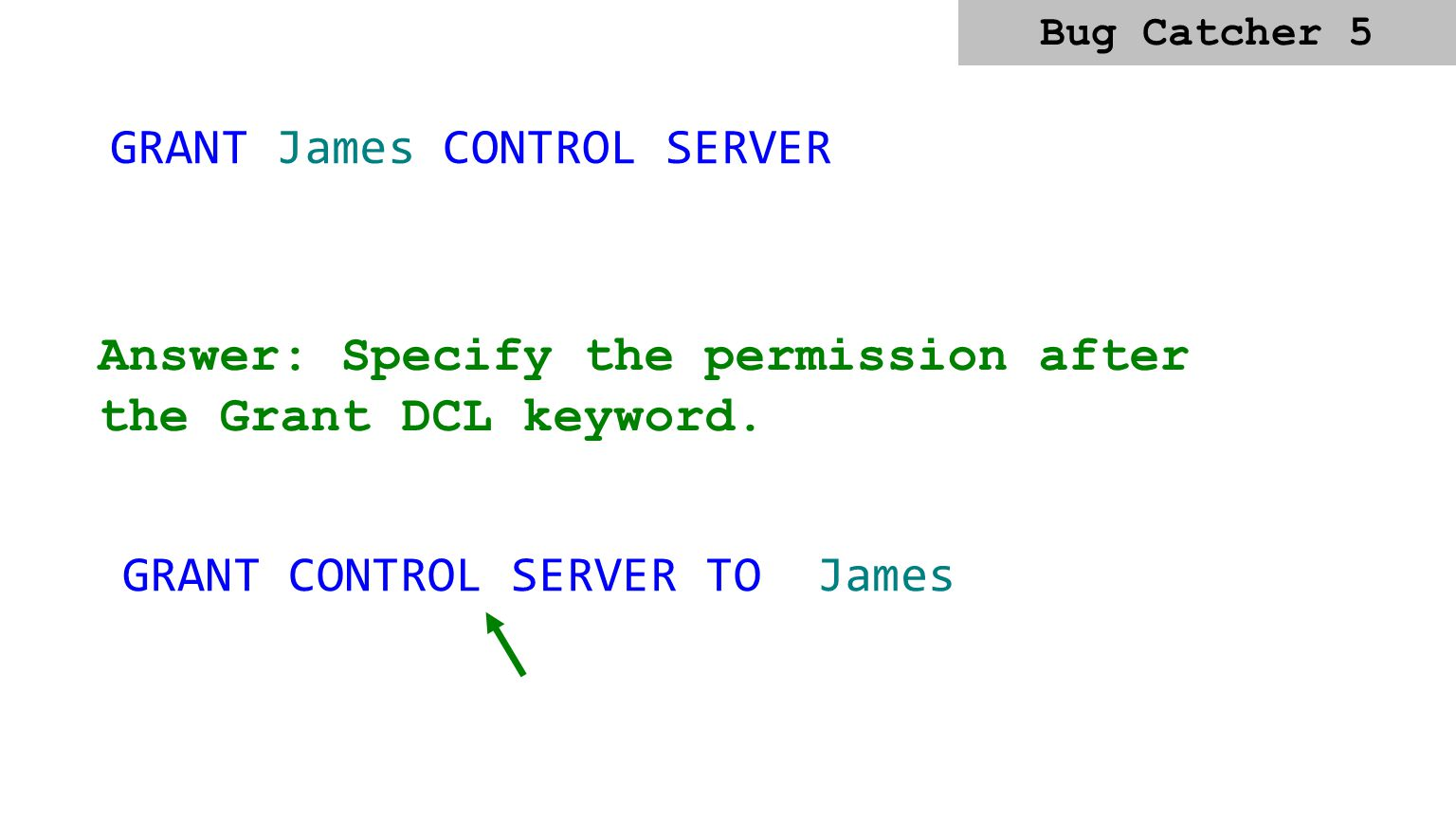 GRANT James CONTROL SERVER Answer: Specify the permission after the Grant DCL keyword.