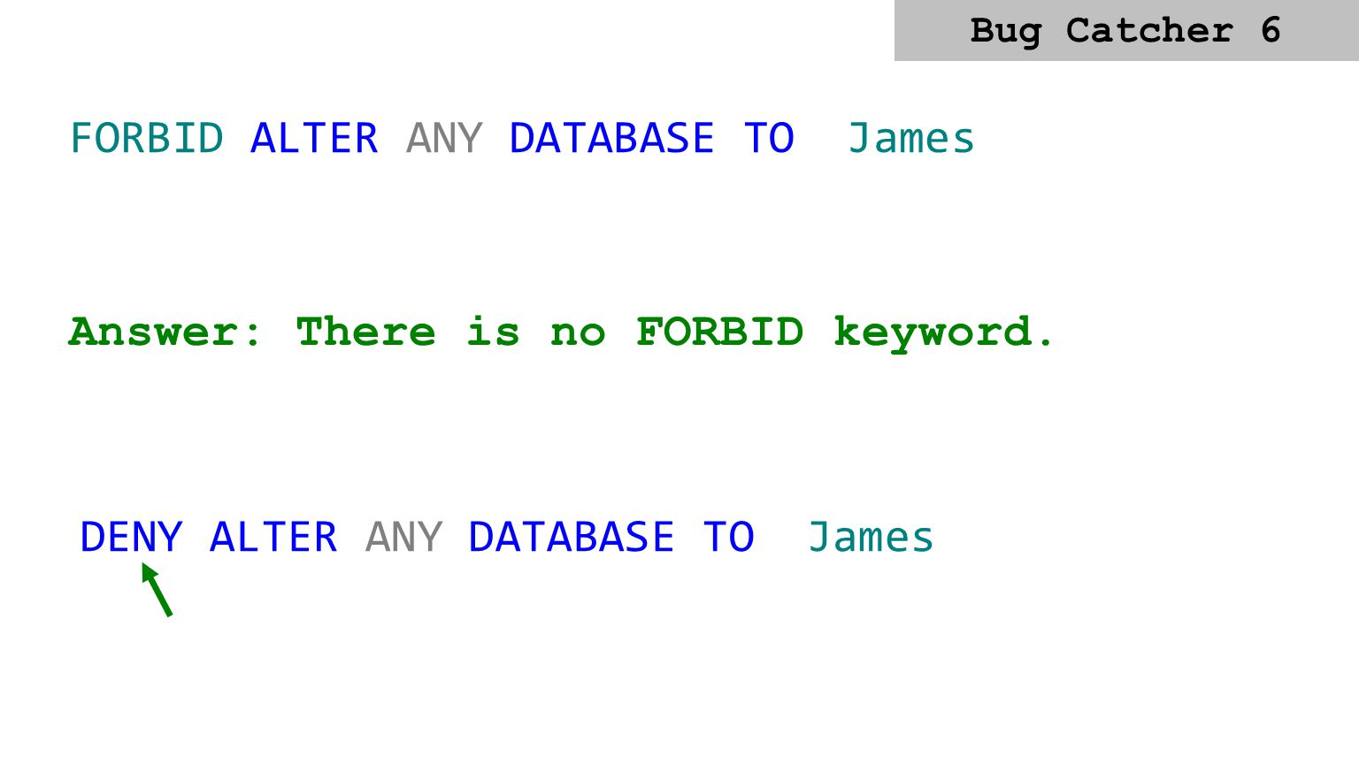 GRANT James CONTROL SERVER Answer: Specify the permission after the Grant DCL keyword. GRANT CONTROL SERVER TO James Bug Catcher 5