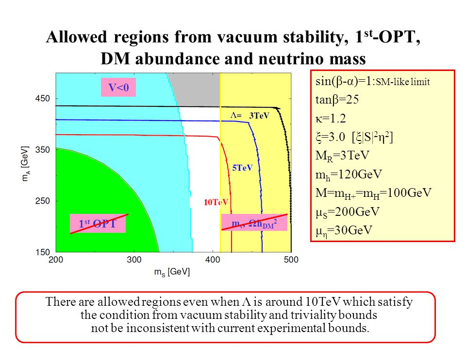 Allowed regions from vacuum stability, 1 st -OPT, DM abundance and neutrino mass There are allowed regions even when Λ is around 10TeV which satisfy the condition from vacuum stability and triviality bounds not be inconsistent with current experimental bounds.