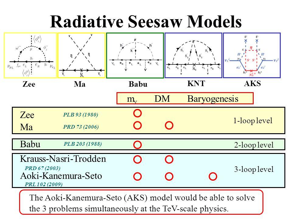 Radiative Seesaw Models ZeeMaBabu KNTAKS m ν DM Baryogenesis 1-loop level 2-loop level 3-loop level The Aoki-Kanemura-Seto (AKS) model would be able t